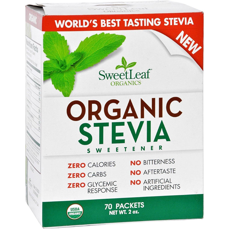 SWEET LEAF Sweetener Organic Stevia 70Count 95+ Organic Use SweetLeaf in place of sugar, 2 Ounce