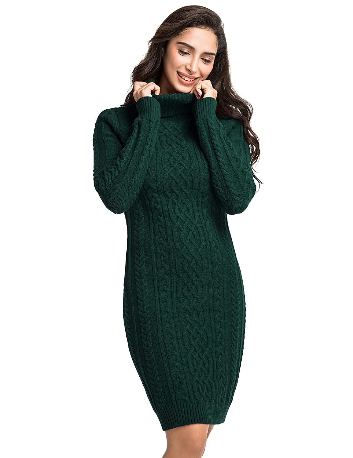 PrettyGuide Womens Sweater Dress Cable Knit Slim Fit Turtleneck Sweater