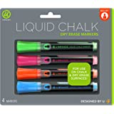 U Brands Liquid Chalk Dry Erase Markers, Bullet Tip, Assorted Colors, 4-Count