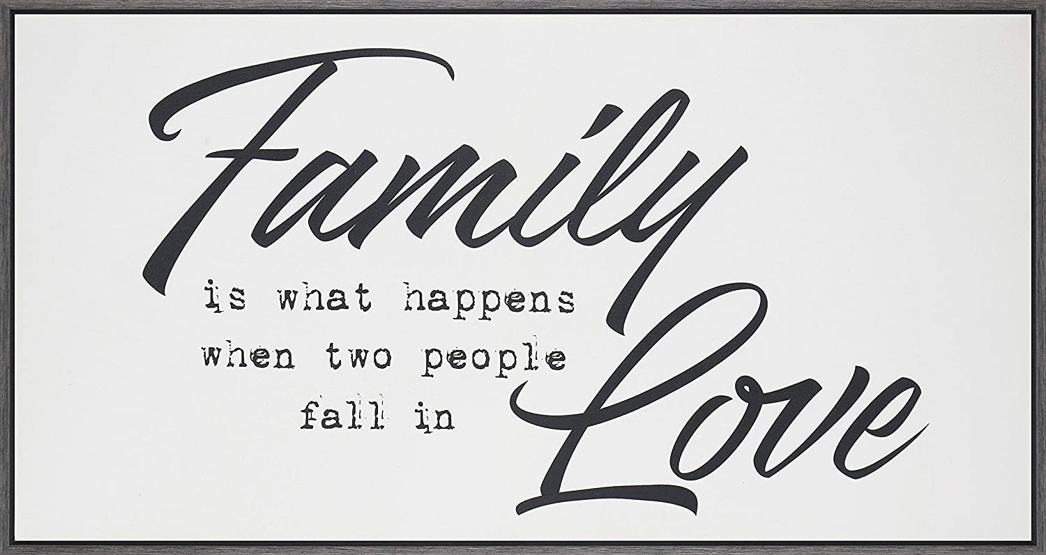 Homekor Family Love Inspirational Wall Art - Family is What Happens When Two People Fall in Love - Motivational Decor Sign, Framed Canvas Print 25 x 13