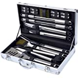 Barbestar 19-Piece BBQ Grill Tool Set, Stainless Steel Utensils with Aluminum Storage Case