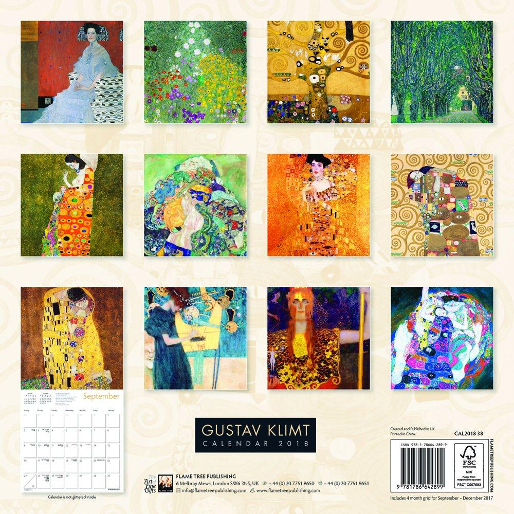 Gustav Klimt Wall Calendar 2018 (Art Calendar): Amazon.co.uk: Flame Tree  Publishing: 9781786642899: Books