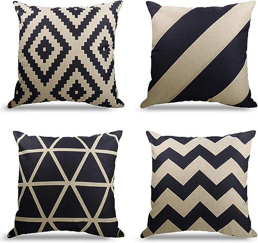 Weyon - Juego de 4 fundas de cojín decorativas de algodón y lino, 45 x 45 cm, 65% lino, 30% poliéster, 5% algodón., 2 (patrón geometría)., 2: Amazon.es: Hogar