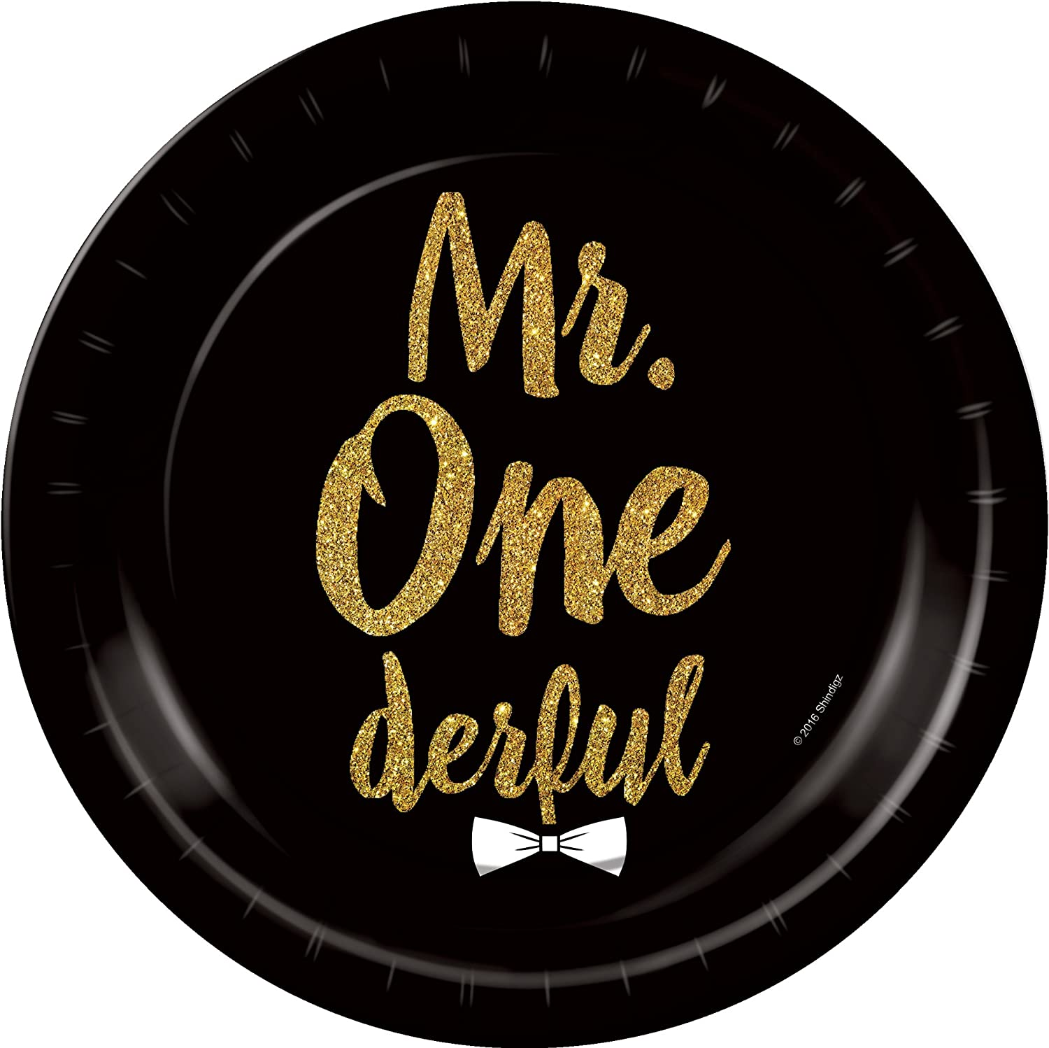 Mr Onederful Decorations 36 pcs Mr Onederful Kit Party Black and Gold 1st Birthday Decorations