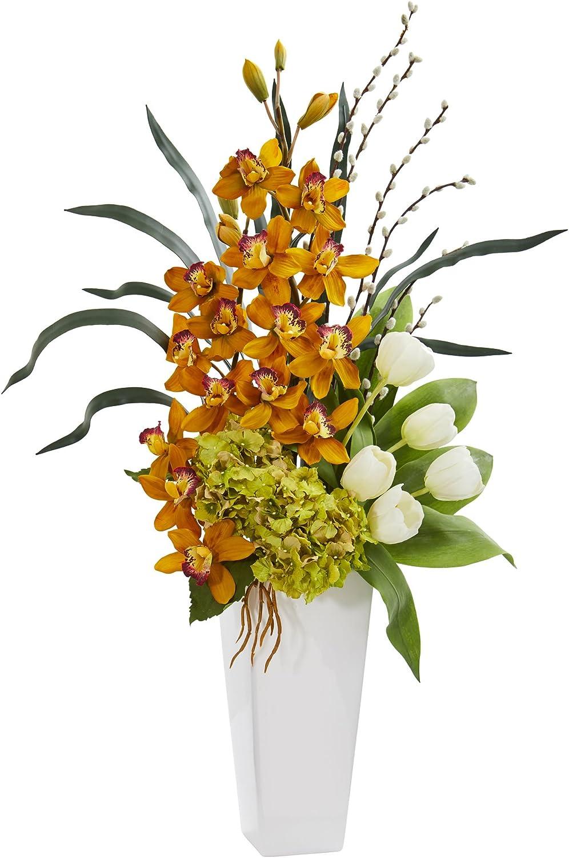 Assorted Tulip, Cymbidium Orchid, and Hydrangea Arrangement in Vase