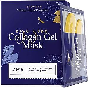 Under Eye Patches - 24Karat Gold Under Eye Mask Anti-Aging Hyaluronic Acid Collagen Under Eye Pads Reducing Dark Circles & Wrinkles Treatment Gel Bags, 20 Pairs