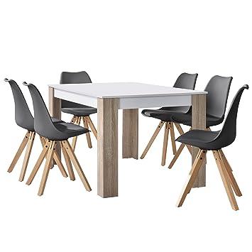 En Casa Table A Manger Chene Blanc Avec 6 Chaises Gris 140x90cm