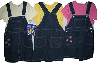Girls's Size 6 Denim Embroidered Shortalls 2-PC Sets. 2 Units Pack