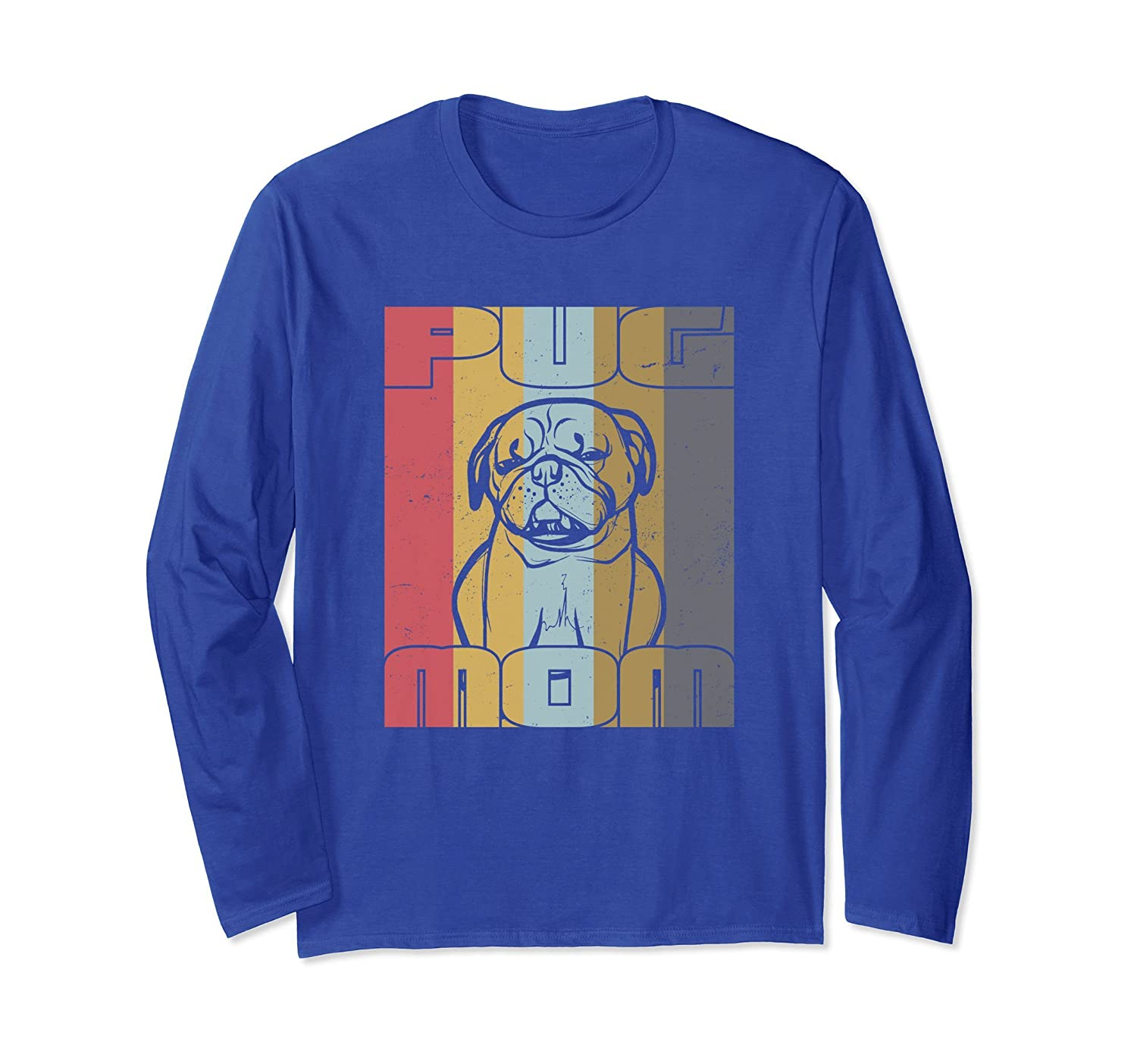 Pug Mom Shirt Vintage Pug Lover Long Sleeve Gifts For Women-AZP