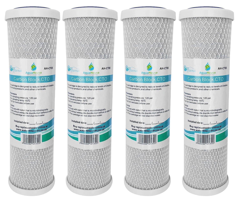 4x AquaHouse AH-CTO5 10 'Carbon Block Filtro ad acqua per acqua potabile, sistemi ad osmosi inversa, adatta a tutti gli alloggiamenti a filtro da 10' adatta a tutti gli alloggiamenti a filtro da 10 CMIBJCK004035