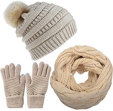 Femmes hiver chaud tricot bonnet bonnet /écran tactile gants longue /écharpe ensemble avec capuchon de cr/âne doubl/é polaire pour les femmes
