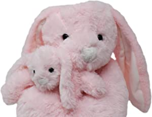 Bunny Rabbits Pink Lop Eared Plush Stuffed Animals Set. 18 inch Bunnies with Baby Rabbit. Kids Toys Gift
