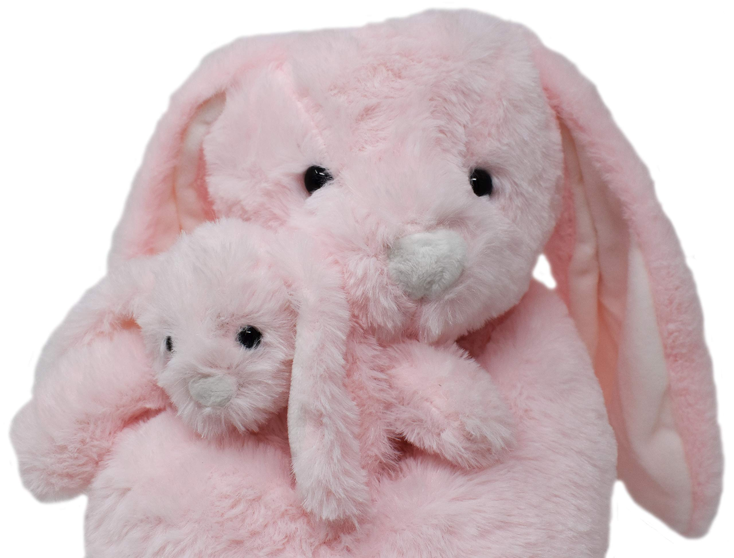 Exceptional Home Bunny Rabbits Pink Lop Eared Plush Stuffed Animals Set. 18 inch Bunnies with Baby Rabbit. Kids Toys Gift by Exceptional Home