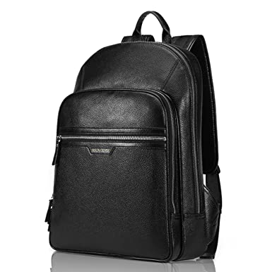 BISON DENIM Classic School Laptop Backpack Genuine Leather Book Bag College Travel Hiking Daypack Black Fit