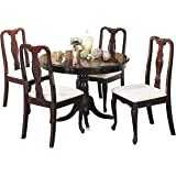 Acme 06005 5 Piece Queen Ann Dining Set, Cherry Finish, 42 Inch