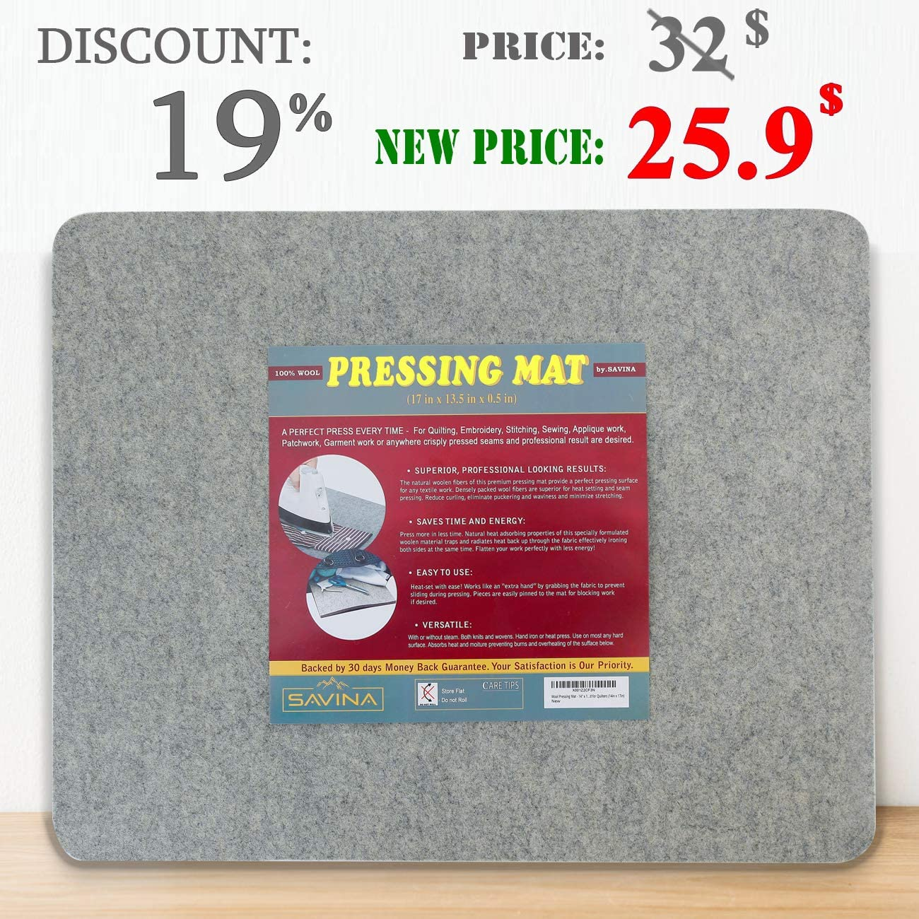 "Easy Press Wooly Felted I 17/"" x 13.5/"" Quilting Ironing Pad Wool Pressing Mat"