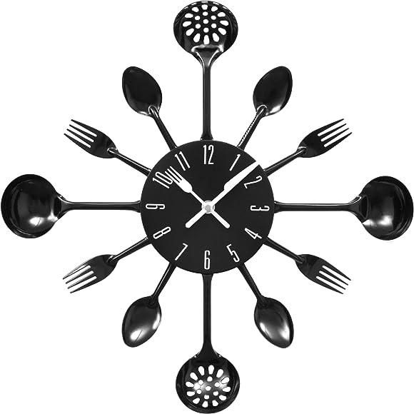 Premier Housewares Black Cutlery Wall Clock