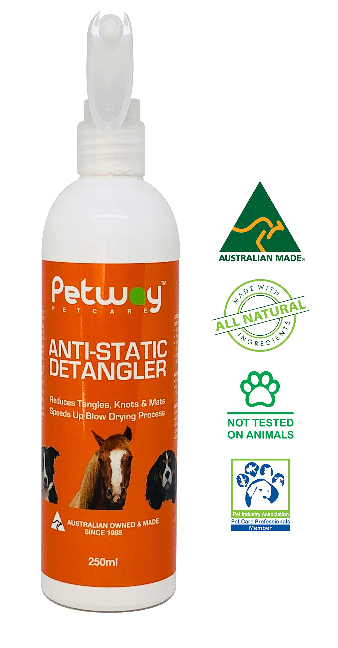 PETWAY Petcare Anti-Static Detangler - Dematting Spray for Dogs, Pet Detangling Spray, Free of Phosphates, Parabens & Enzymes - Tangle Remover, Daily Grooming Aid, Soap & Fragrance Free (250) by PETWAY