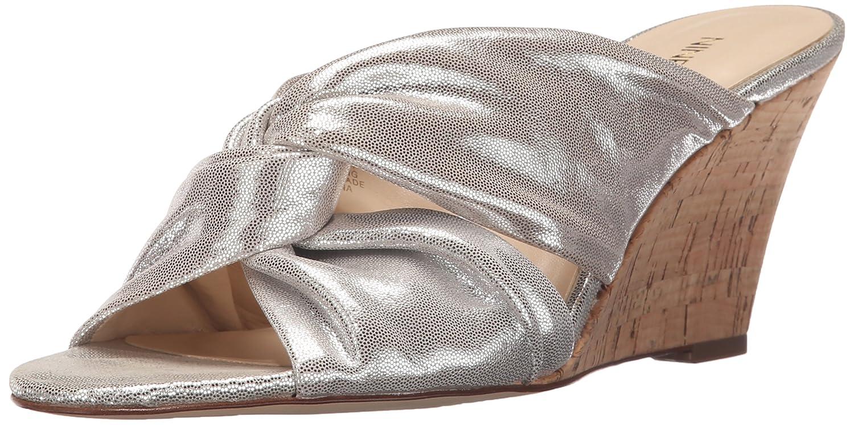 Nine West Women's Kessie Metallic Wedge Sandal B017MNBJPC 9 B(M) US|Light Silver Metallic