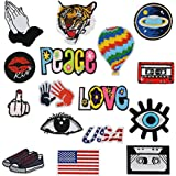 16 Pcs Iron On Embroidered Motif Applique Glitter Sequin Decoration Patches DIY Sew on Patch for Jeans, clothing