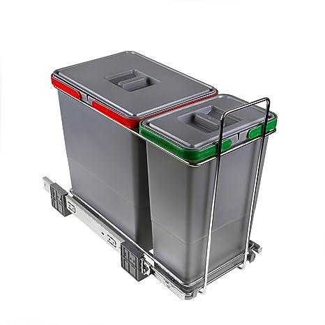 ELLETIPI Ecofil PF01 34 A1 Mülleimer Mülltrennung, ausziehbar für Base,  Kunststoff und Metall, Grau, 23 x 45 x 36 cm