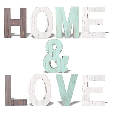 MEANT2TOBE Rustic Wood Home & Love Signs Home Décor |Freestanding Wooden Letters Cutouts for Home Décor|Multi-Color Wooden Signs |Decorative Word Signs|Multicolor Table Decor Centerpiece| (Blue)