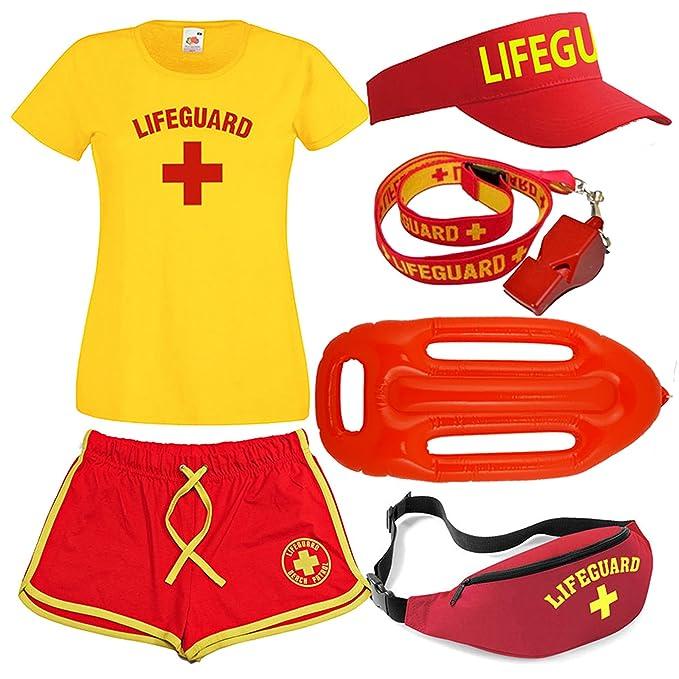 Lifeguardgear - Set de socorrismo para mujer, incluye camiseta, pantalones cortos, flotador y riñonera, silbato y visera: Amazon.es: Ropa y accesorios