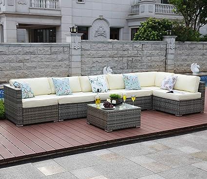 Amazon.com: Tribesigns 7 Pieces Outdoor Patio Furniture Set ...
