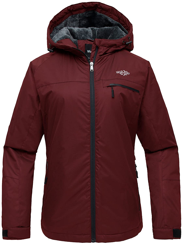 Wantdo Women's Hooded Mountain Ski Jacket Outdoor Fleece Windproof Rain Jacket