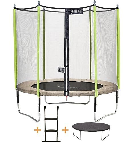 Kangui - Trampolín de jardín 244 cm + Red de seguridad + escalera ...