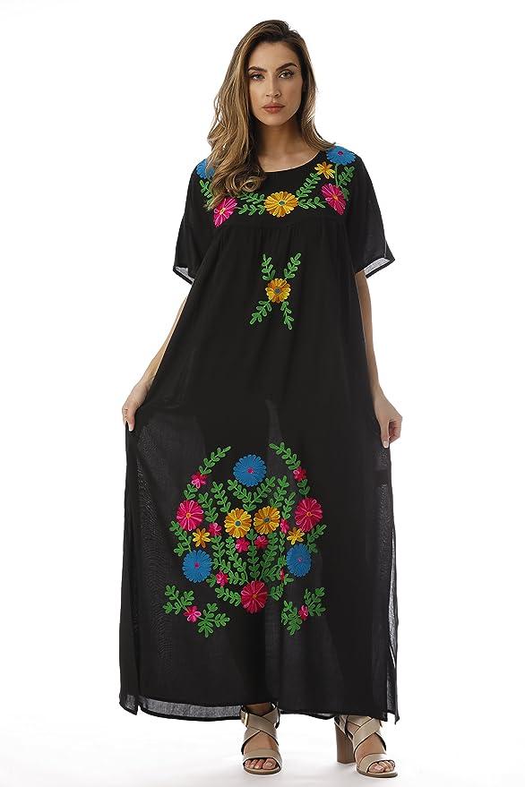 70s Dresses – Disco Dress, Hippie Dress, Wrap Dress Riviera Sun Embroidered Maxi Dress with Double Side Slits $24.99 AT vintagedancer.com