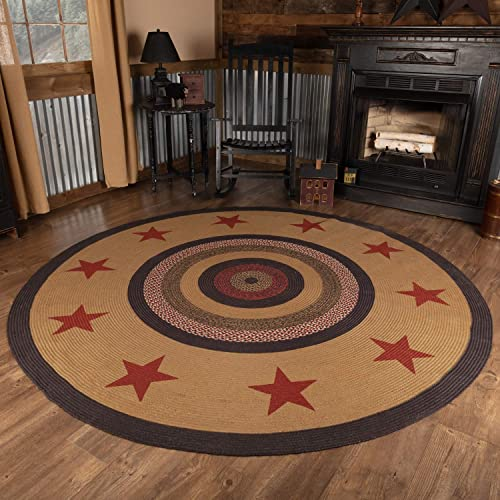 VHC Brands Area Mat Jute Country Star Pattern Circular for Dining Living Room Rug, 8 Round, Starss