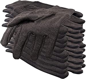 Brown Jersey Women Gloves 12 Pack. Washable Cotton Work Gloves Women 10 Oz with Elastic Knit Wrist. Cotton Polyester Reusable Gloves. Comfortable Breathable Gloves for Industrial Work. Size 9