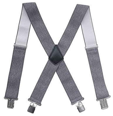 a87ea49eb Chalier 50MM Bretelles pour Hommes et Femmes Style X Larges Bretelles de  Travail Bretelles Réglables Élastique