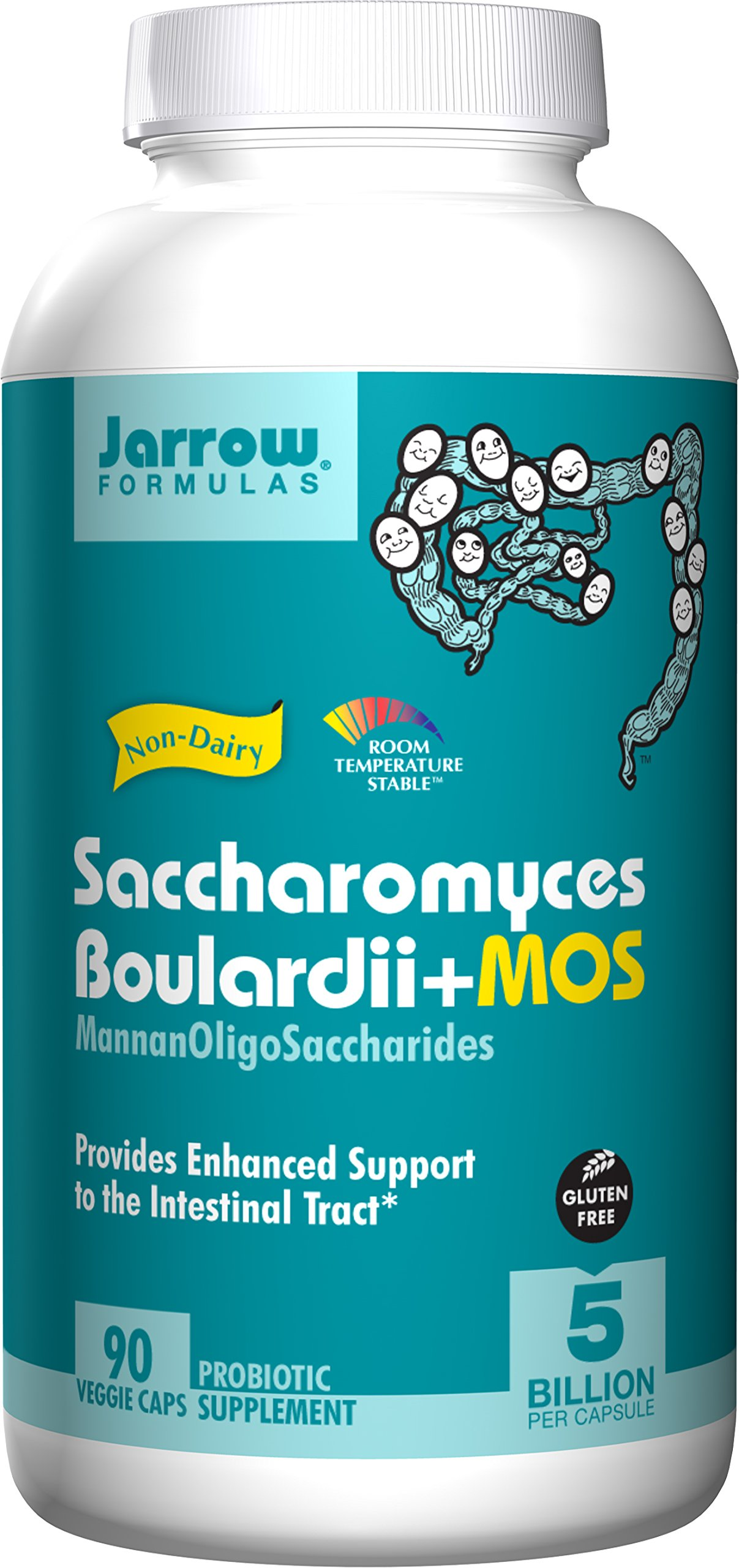 Jarrow Formulas Saccharomyces Boulardii + MOS, 5 Billion Cells Per Capsule, Promotes Intestinal and Digestive Health, 90 Veggie Capsules