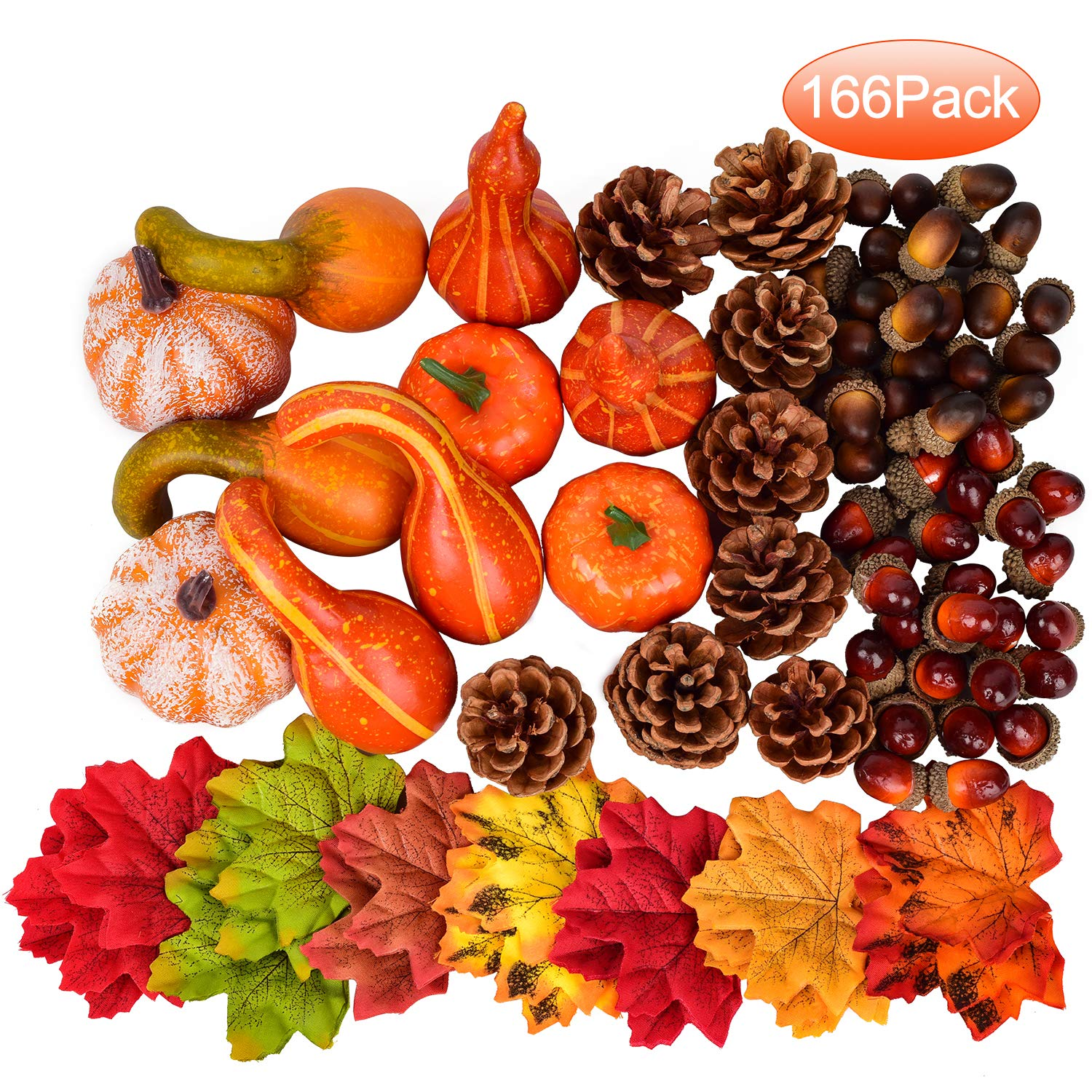 Woooow Artificial Autumn Gourds, Mini Pumpkins, Pine Cones, Leaves, Acorns and Berries Fall Decorating Kit Thanksgiving Halloween Party Decor