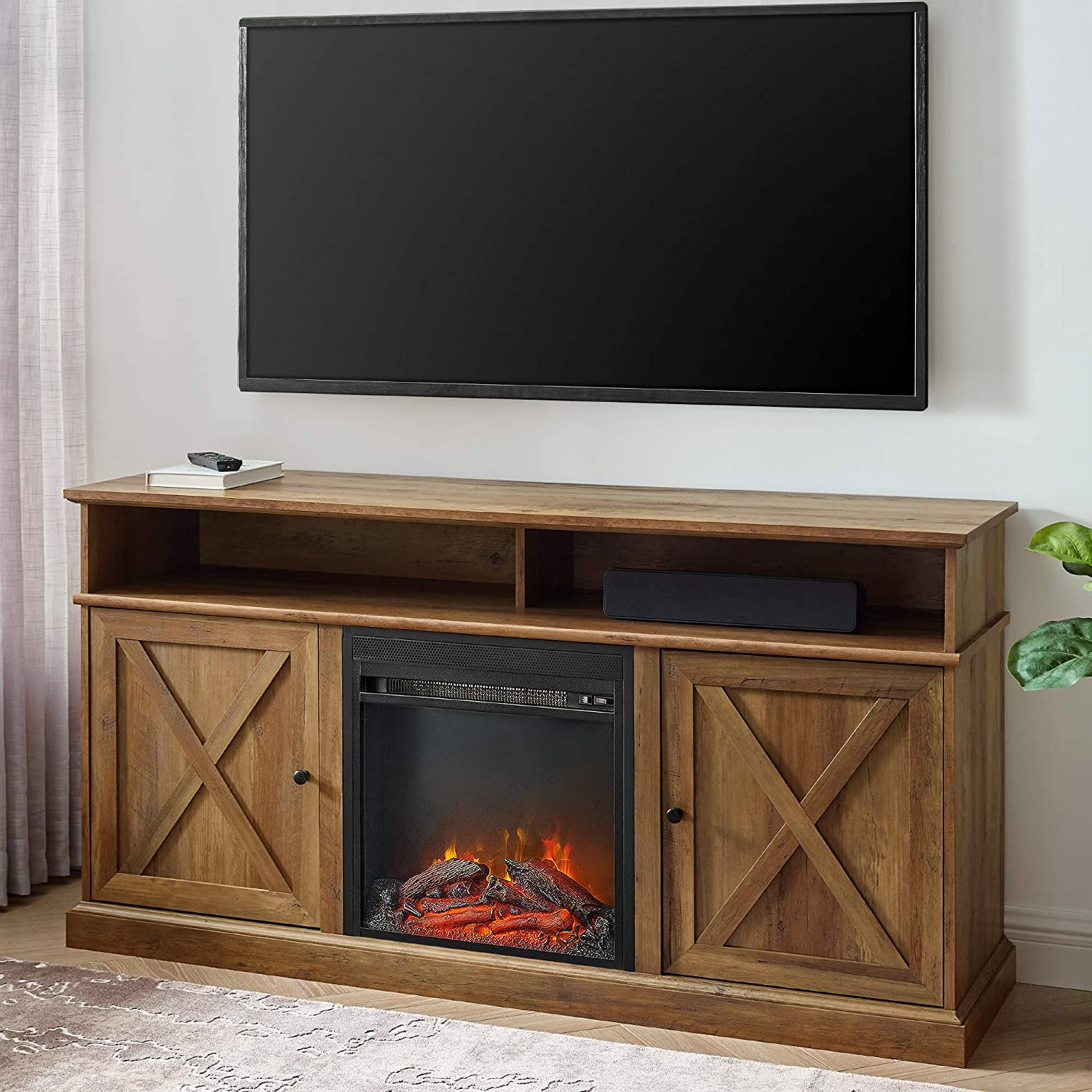 Walker Edison Atticus Farmhouse Tall X Barn Door Fireplace Stand for TVs up to 65 Inches, Rustic Oak