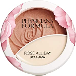 Physicians Formula Rosé All Day Set & Glow Powder & Highlighter Balm, Sunlit Glow, 0.36 Ounce