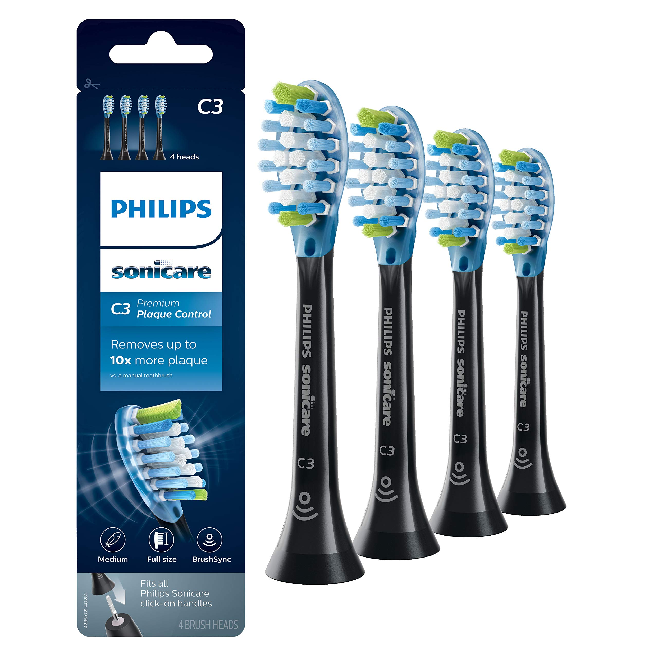 Philips Sonicare Premium Plaque Control replacement toothbrush heads, HX9044/95, BrushSync technology, Black 4-pk