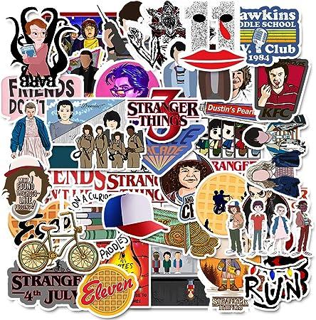 DIWSO Sticker Pack (75 PCS)Stranger Things Calcomanías, pegatinas vinilo para Portátiles de para Botellas de Agua, Frasco hidráulico, Tabla de Snowboard, Equipaje,Guitarra, Monopatín, teléfono Celular: Amazon.es: Hogar