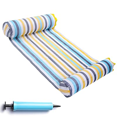 FindUWill Hammock Float Portable Swimming Pool Lounger with Inflatable Water Pillow (Colorful): Toys & Games
