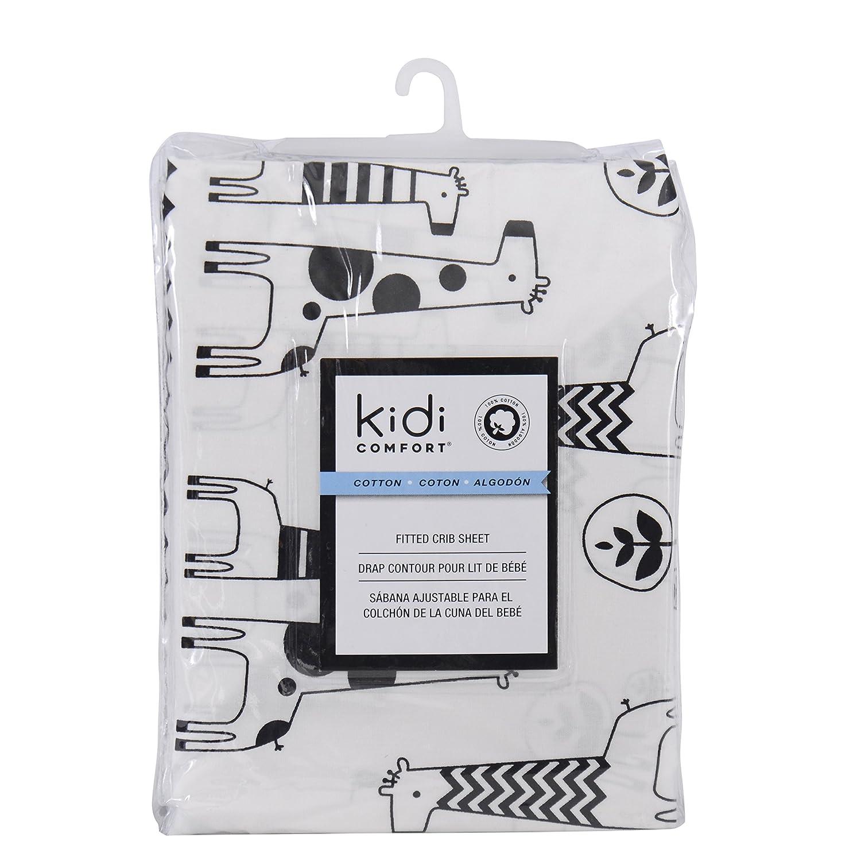 Kidiway 3041 kidicomfort Fitted crib sheet - 100 % Cotton - Black Giraffe