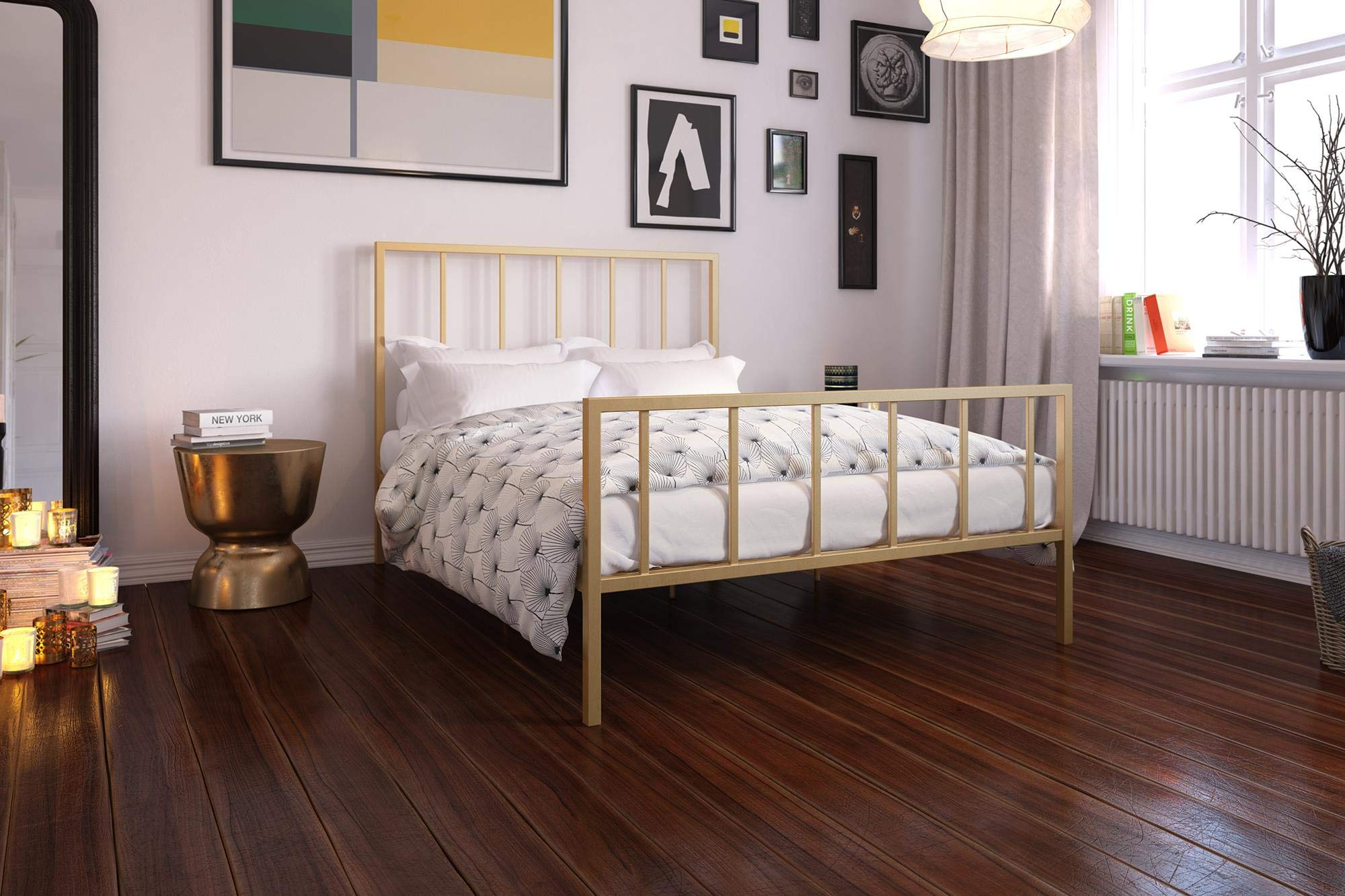 DHP Stella Bed with Metal Frame, Gold, Queen by DHP
