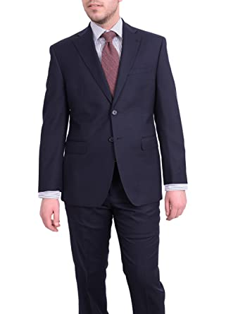 f7b4e3107865d Ital Uomo Regular Fit Navy Blue Mini Check Two Button Wool Suit at ...