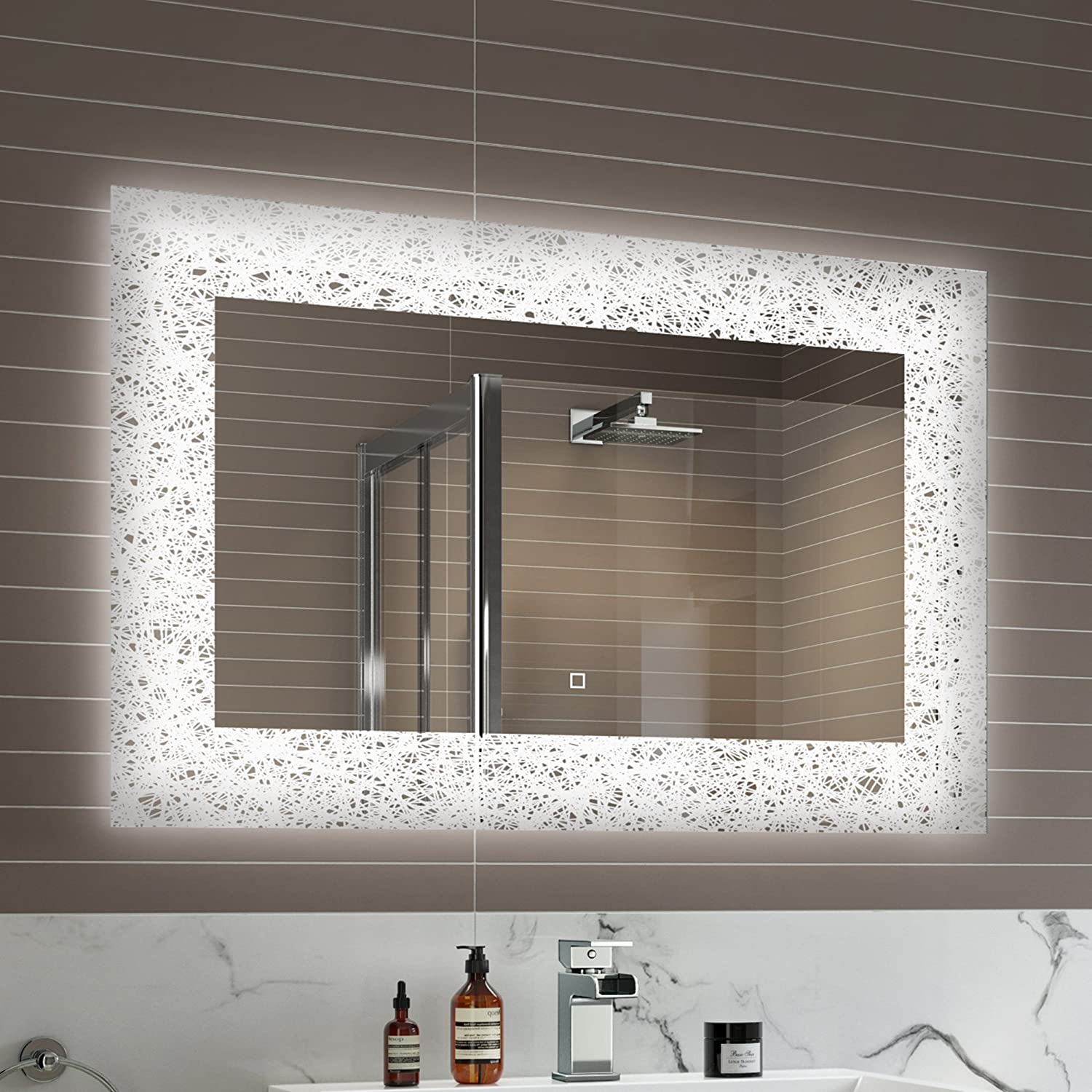 900 X 600 Mm Designer Illuminated LED Bathroom Mirror Light Sensor Demister ML7001