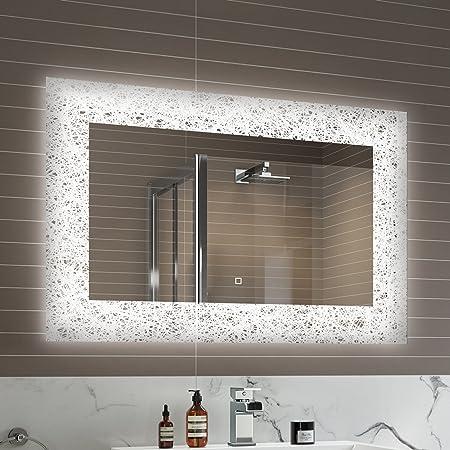 900 x 600 mm Designer Illuminated LED Bathroom Mirror Light Sensor + Demister ML7001 & 900 x 600 mm Designer Illuminated LED Bathroom Mirror Light Sensor + ...