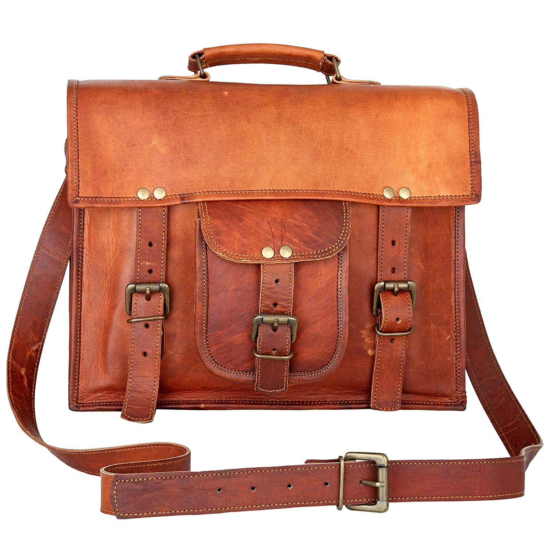 Tan CPLEATHER Vintage Design Leather Messenger Bag for Men and Women