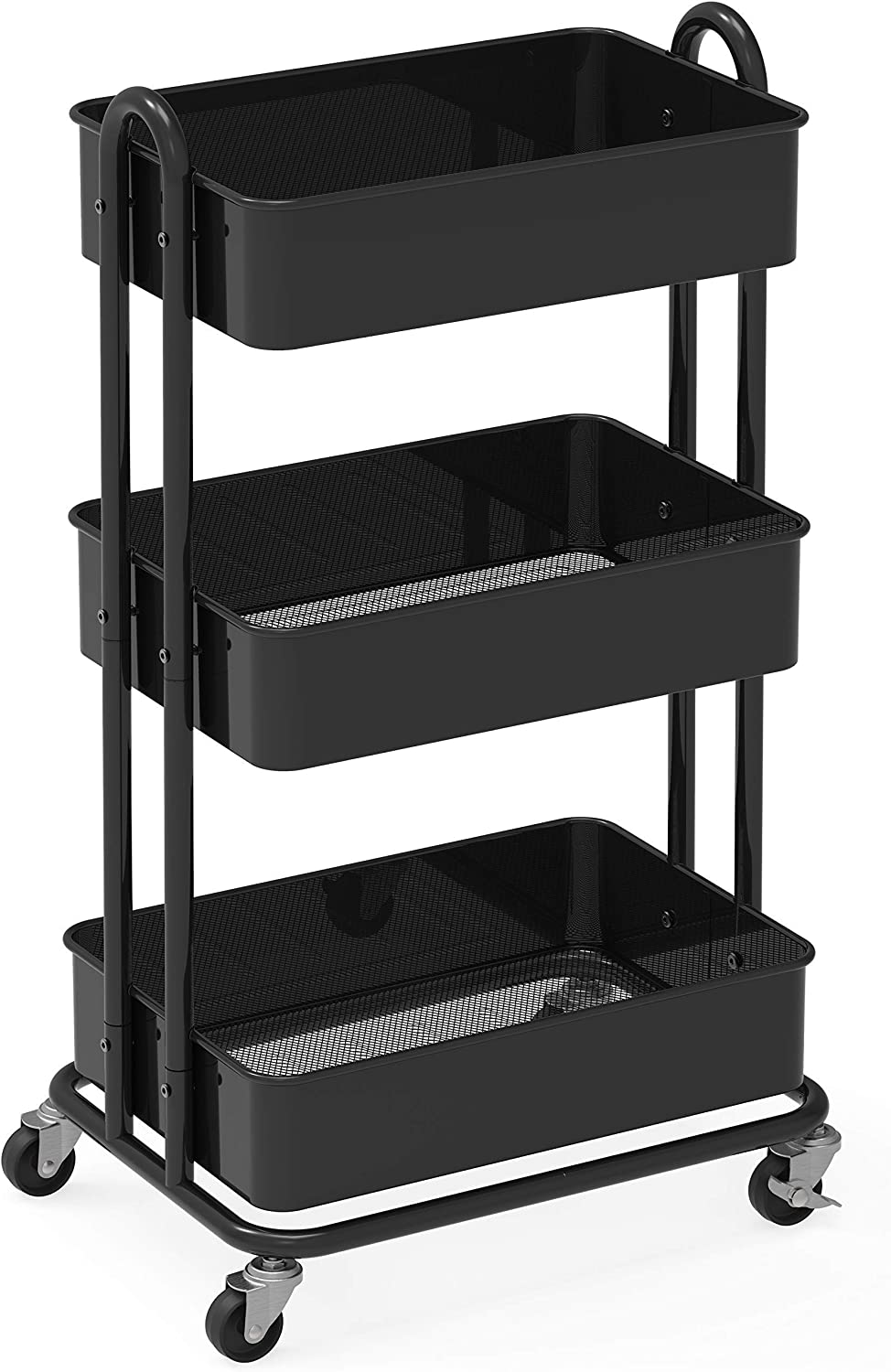 Simplehouseware Heavy Duty 3 Tier Metal Utility Rolling Cart Drawer Organizer Tray Office Products