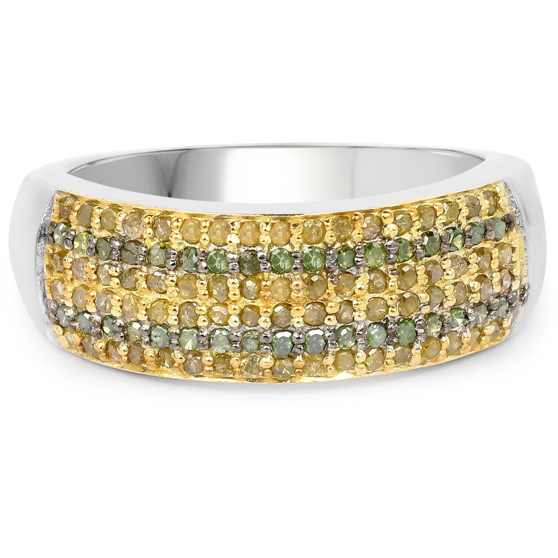 0.43 Carat Genuine Green Diamond and Yellow Diamond .925 Sterling Silver Ring