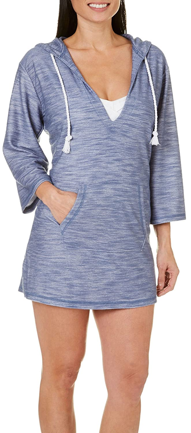 Pacific Beach Womens Hooded V-Neck Tunic Cover-Up